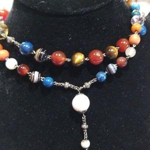Beautiful warm chakra beaded necklace, vtg